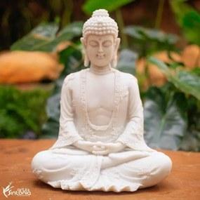 Escultura de Buda em Marmorite Branco