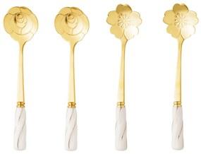 Jogo Colheres Para Chá Inox 4 Peças Cabo Cerâmica Flower Dourado/Branco 28284 Bon Gourmet