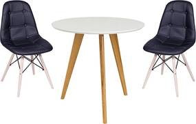 Conjunto Mesa Square Redonda 80cm Pés em Madeira Taeda + 2 Cadeiras Eiffel Botonê Preta