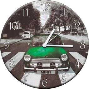 Relógio de Parede Mini Cooper Verde em MDF - 28 cm