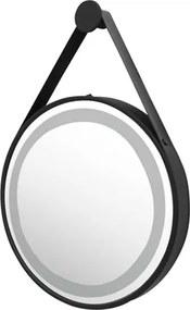 Espelho Alumínio Couro Preto Led 72W 2700/4000K Ø60cm Jules