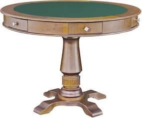 Mesa de Jogos Carteado 4 Lugares Victoria Redonda Tampo Reversível com Gavetas e Porta Copos Amêndoa - Gran Belo