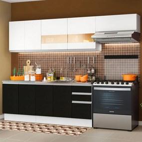 Cozinha Completa Madesa Marcela Com Armário e Balcão (Sem Tampo e Pia) Branco/Preto/Branco Cor:Branco/Preto/Branco
