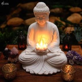 Luminária Buda com Lótus em Marmorite