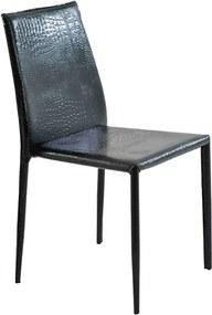 Cadeira Decorativa Sala e Cozinha Karma PVC Preta Crocco - Gran Belo