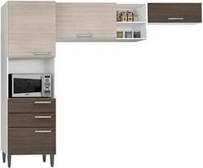 Cozinha Compacta Natália Amêndoa/Capuccino - Poquema