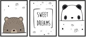 Quadro 30x60cm Infantil Sweet Dreams Moldura Preta sem Vidro Decorativo