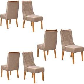 Conjunto 6 Cadeiras Amélia Carvalho Tecido Veludo Kraft