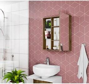 Espelheira Miami C/ Prateleira de Vidro Madeira Rústica Móveis Bechara