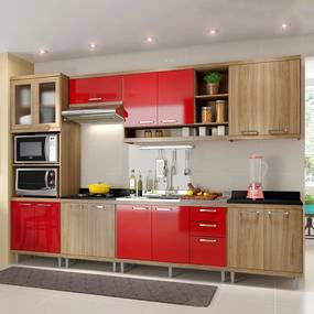 Cozinha Completa Sem Tampo 15 Portas 5834 Argila/Vermelho - Multimóveis