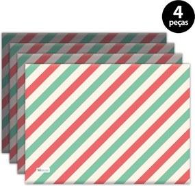 Jogo Americano Mdecore Natal Listras 40x28 cm Verde 4pçs