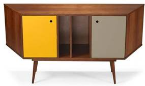 Buffet Daring 2 Portas Cor Cacau Com Amarelo E Fendi - 28898 Sun House