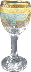 Jogo de Taças Licor Turco em Cristal 6 pçs Azul Fol Ouro