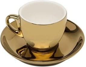 Jogo Xícaras Café Porcelana Com Pires 6 Peças Branco E Dourado Versa 90ml 17369 Wolff