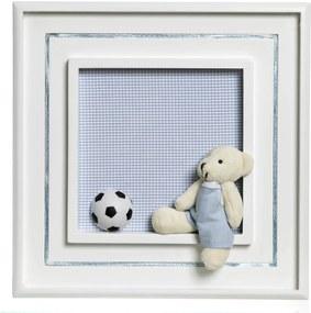 Quadro Príncipe Urso Com Bola Bebê Infantil Menino Potinho de Mel Azul