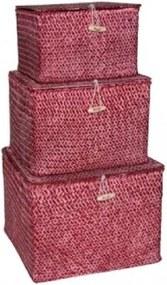 Conjunto de Caixa de Fibra Natural Vinho