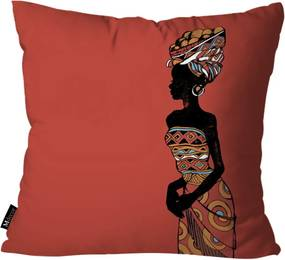 Capa para Almofada Mdecore Africana 45x45cm Vermelho