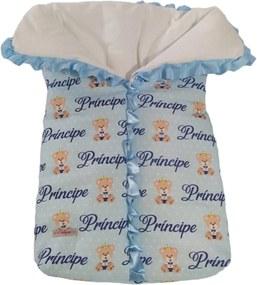 Saco de Dormir Para Bebê Calupa Com Zíper Estampa Ursinho Príncipe Azul