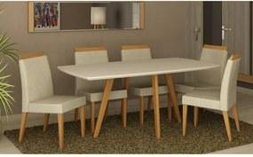 Conjunto Sala de Jantar com Mesa Natural com Branco e 6 Cadeiras Máxima