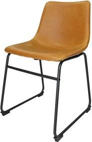 Cadeira Rústica Vintage em Metal e Couro Ecológico Caramelo