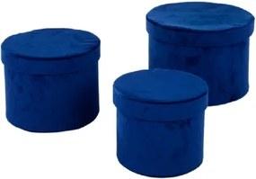 Conjunto de Caixas de Veludo Azul 3 peças