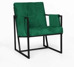 Poltrona Megan Luxo  Decorativo Base Preto Suede Verde Bandeira