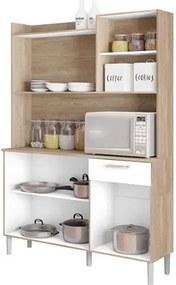 Kit Cozinha Compacta 6 Portas Gênova Nogal/White - Kit's Paraná