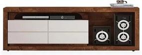 Rack para TV até 60 polegadas, Rústico Malbec com Off WhiteDecore