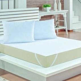 Kit 3 Peças Fronha e Capa Protetor de Colchão para Cama Viúva e Solteirão Impermeável Malha Branca