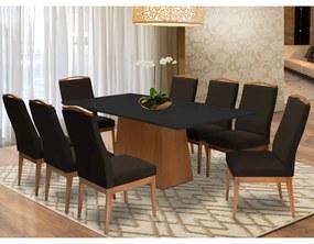Conjunto Mesa Bianca Preto 2,08 m + 8 Cadeiras Lara Veludo Marrom