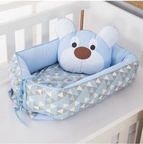 Ninho Redutor de Berço Dôda Baby Urso Dengoso Azul Bebê 2 Peças