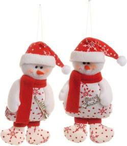 Boneco De Neve Pendurar Decoração 2 Peças 18Cm Cor Vermelho