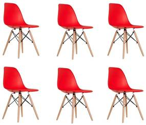 Conjunto 6 Cadeiras Eames Vermelha Dsw - Empório Tiffany