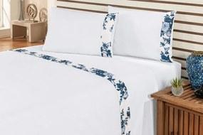Jogo de Cama Marebre Queen Floral Azul Com Elástico com 4 peças - Enxovais Ibitinga