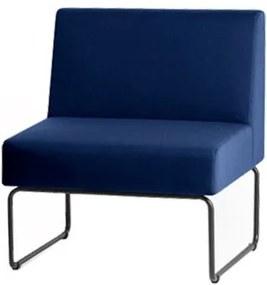 Poltrona Modular Pix Assento Courino Azul Base Aco Preto - 55303 Sun House
