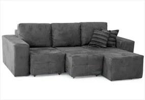 Sofá Classic Assentos Retrátil e Chaise com 200 cm de Largura Suede Cinza - Jm Estofados