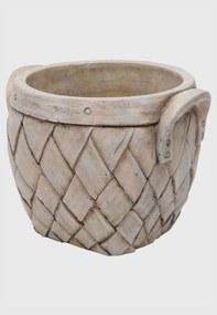 Vaso Cerâmica Natural Basket Bege 17X15X13Cm