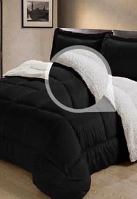 Cobertor Sherpa 2 em 1 Tipo Pele de Carneiro Casal Queen Anti-Frio Preto Cotex