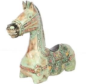 Escultura Cavalo de Madeira - Verde