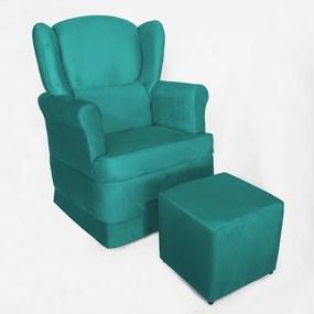 Conjunto Poltrona Ana de Amamentação com Balanço + Puff Ana Suede Azul Tiffany