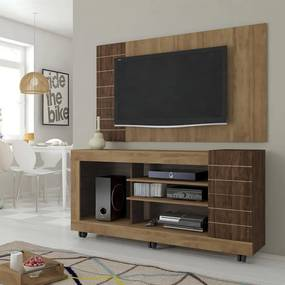 "Home Theater Daryl P/ Tv Até 60"" C/ 4 Nichos Buriti / Havana"