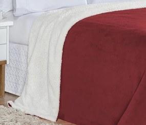 Cobertor King Alaska Tecido Sherpa / Manta Microfibra 01 Peça - Vermelho