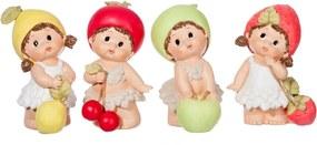 Escultura Udecor Crianças Frutas Multicolorido - Jogo com 4 peças