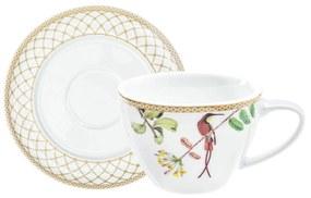 Xícara de chá c/ pires Bela Fauna - Branco  Branco