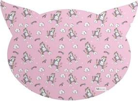 Tapete PET Mdecore Cabeça de Gato Unicórnio Rosa 54x39cm