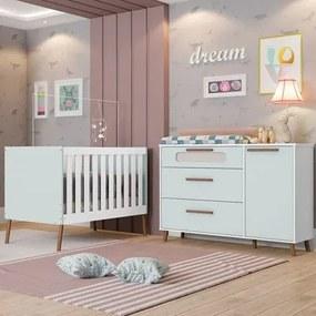Quarto de Bebê Cômoda 1 Porta e Berço Retrô Bibi Branco/Azul - Móveis Estrela