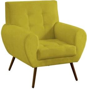 Poltrona Decorativa Beluno Suede Amarelo Pés Palito - D'Rossi