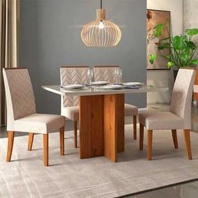 Mesa de Jantar Aura Rústico Terrara Off White + 4 Cadeiras Laura Linho Claro
