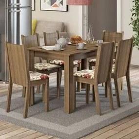 Conjunto Sala de Jantar Madesa Maris Mesa Tampo de Madeira com 6 Cadeiras Rustic/Lírio Bege Cor:Rustic/Floral Lírio Bege