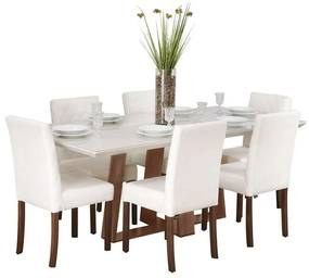 Conjunto Sala de Jantar Mesa Coyle com 6 Cadeiras Beliz Estofada - Wood Prime 44670